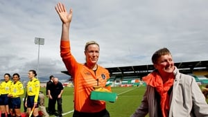 Ireland's Emma Byrne acknowledges the crowd after receiving her 106th and record cap
