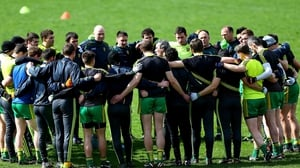 Donegal players in a huddle prior to their Division 2 match against Armagh at the Athletic Grounds