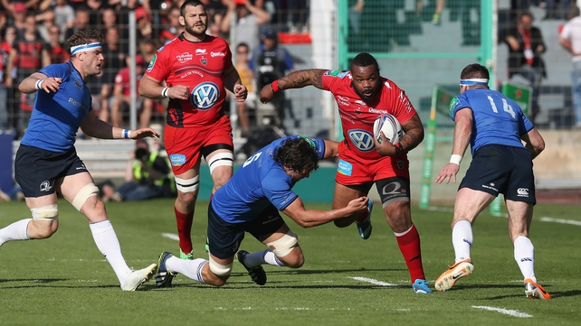 Mathieu Bastareaud of Toulon is tackled by Leinster's Mike McCarthy