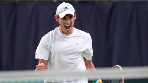 James McGee celebrates winning the tie