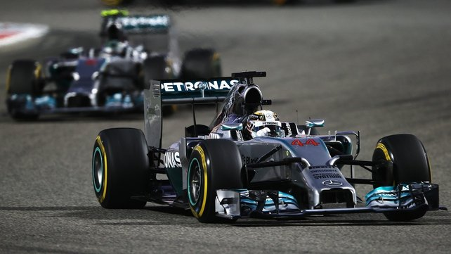 Lewis Hamilton leads from team mate Nico Rosberg