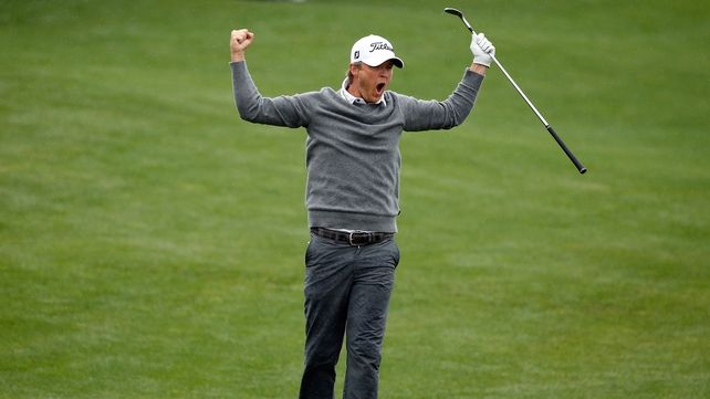 Matt Jones celebrates after making a birdie on the 18th at the Golf Club of Houston in Humble