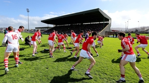 Cork players warming up before their clash with Kerry