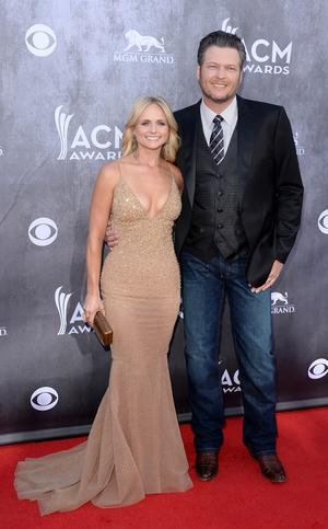 Big-winner of the night Miranda Lambert with husband and host Blake Shelton