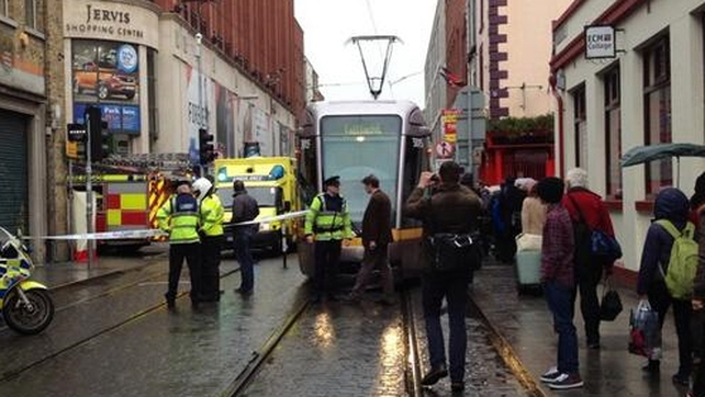 The Luas line is closed between Smithfield and Connolly stops (pic @damienmulley)