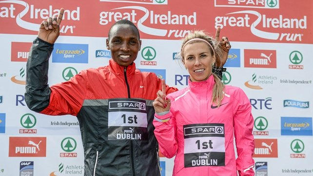 Japheth Korir of Kenya and Iwona Lewandowska of Poland -  SPAR Great Ireland Run 2014 winners
