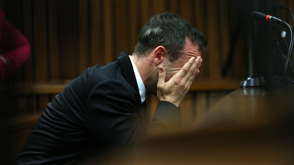 South African Paralympic athlete Oscar Pistorius pictured at his trial in Pretoria (Pic: EPA)