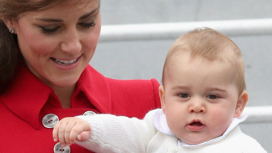 The Duchess of Cambridge and Prince George, along with Prince William (not pictured) arrive in Wellington, New Zealand