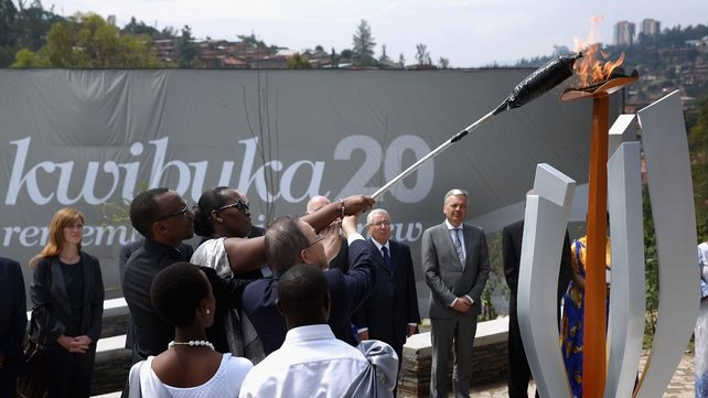 Rwandan President Paul Kagame lights the Flame of Remembrance at the Kigali Genocide Memorial Center