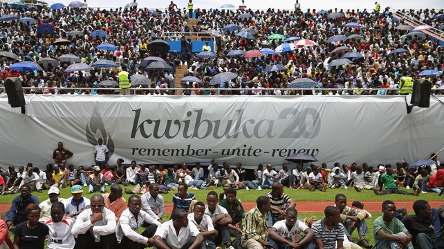 Thousands of people gather at Amahoro Stadium in Kigali, Rwanda