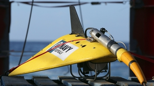 The towed pinger locator on the deck of the Ocean Shield