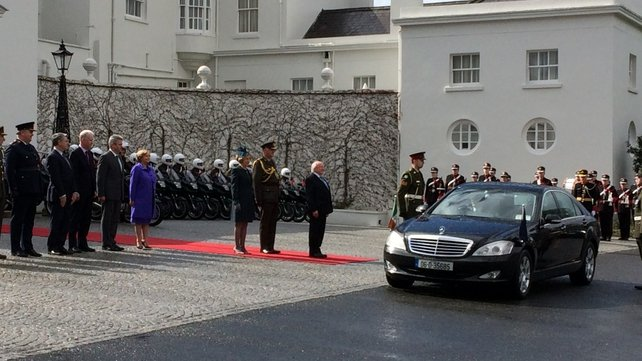 Michael D Higgins and his wife Sabina leave Áras an Uachtaráin ahead of the State visit to the UK