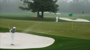 Rory McIlroy got some practice in at Augusta before the thunderstorm arrived
