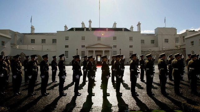 Members of the 12th Infantry Battalion form a Guard of Honour for President Michael D Higgins at Áras an Uachtaráin