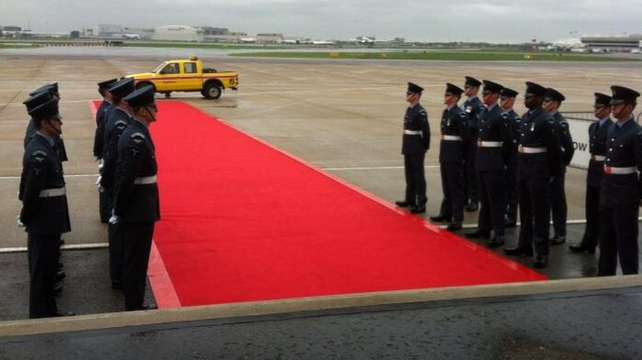 The Queen's Colour Squadron ahead of the arrival of President Higgins at Heathrow