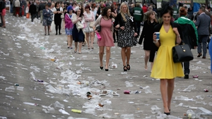 Racegoers leaving the course on Ladies' Day