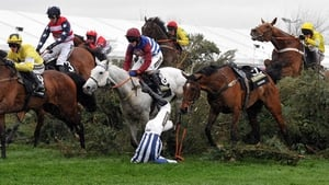 Twoforthree unseats Nick Scholfield during the Grand National