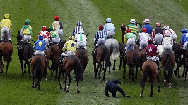 Simon McNeill was knocked over during yet another unsatisfactory start to the Grand National