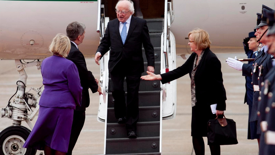 President Michael D Higgins arrives at Heathrow Airport in London on the eve of his State visit