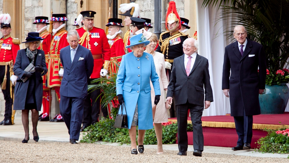 President Higgins, Sabina Higgins and members of the royal family following the procession to Windsor Castle