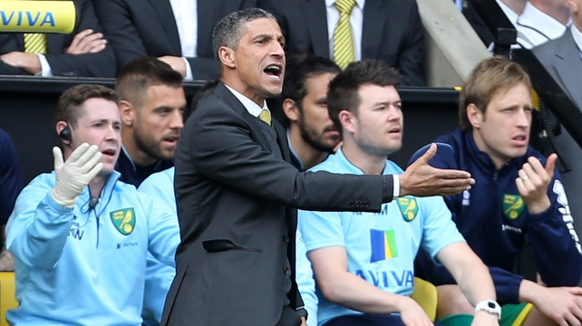 Chris Hughton was hit by a clapper board when fans protested Norwich's loss to West Brom last weekend