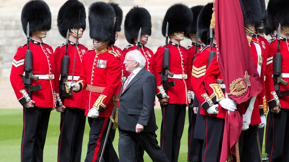 Michael D Higgins inspects a Guard of Honour at Windsor Castle