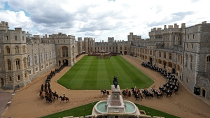 A general view during the welcoming ceremony for President Higgins at Windsor Castle (Pic: EPA)
