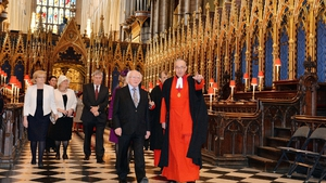 The Very Reverend John Hall, Dean of Westminster Abbey, shows Mr Higgins around the Abbey