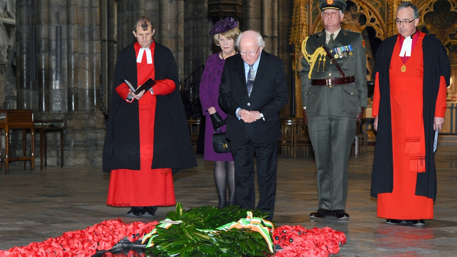 The President laid a wreath at the Grave of the Unknown Warrior in Westminster Abbey