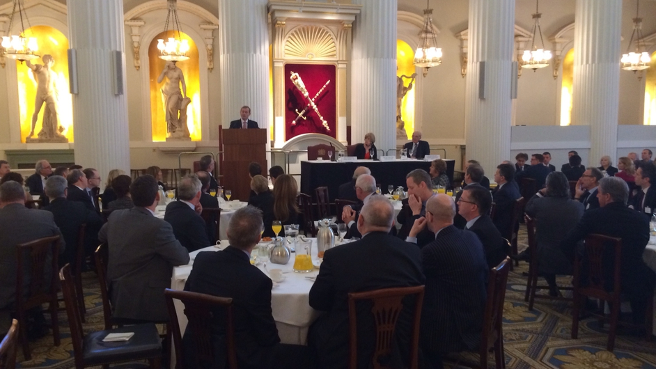 Taoiseach Enda Kenny speaks to members of the business community at a breakfast event in the Mansion House, London
