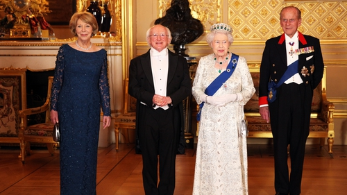 Mrs Sabina Higgins, President Michael D Higgins, Queen Elizabeth II and Prince Philip