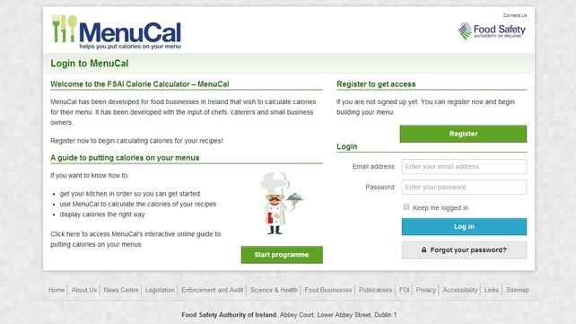 MenuCal users need to register and get a password to start using the site