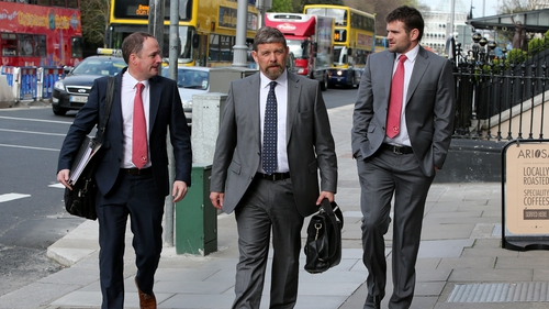 Ulster's director of rugby David Humphreys, team manager David Millar and full-back Jared Payne arrive for the latter's ERC hearing in Dublin