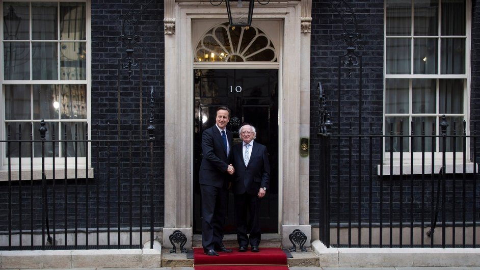 President Higgins and David Cameron meet at 10 Downing Street