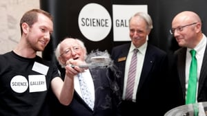 The President is shown a quantum locking demo by Dr Joseph Roche, astrophysicist at Trinity College's Science Gallery