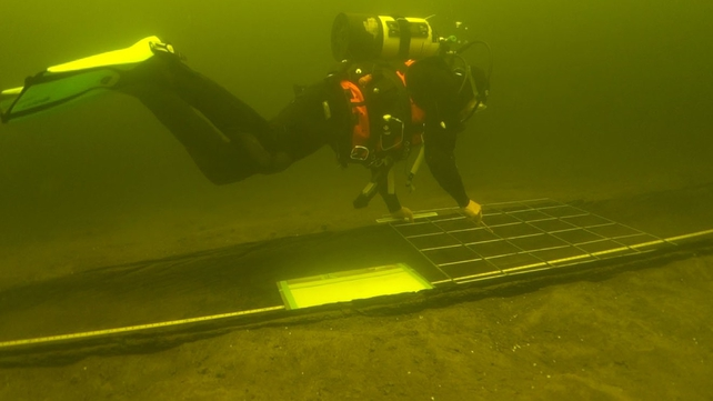 Diver drawing an Annaghkeen Bronze Age Log boat in Lough Corrib