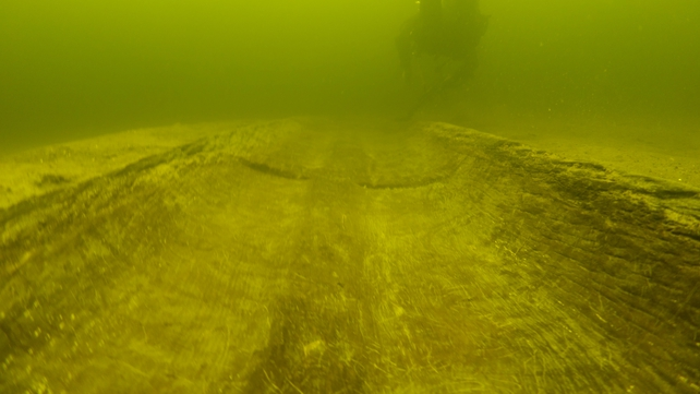 A floor-level shot of a diver and logboat