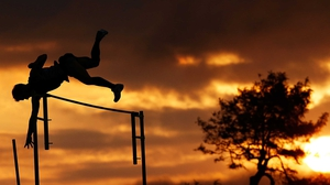 An athlete competes in the pole vault during the Australian Athletics Championships in Melbourne