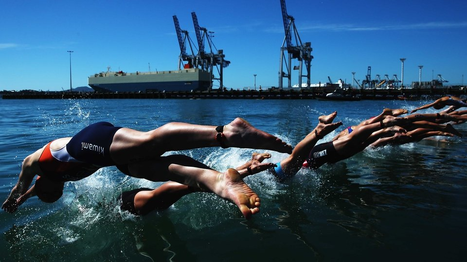 Competitors dive during the ITU World Triathlon elite women's race in Auckland, New Zealand