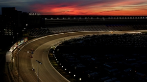Cars race through turn 1 during the NASCAR Nationwide Series in Fort Worth, Texas
