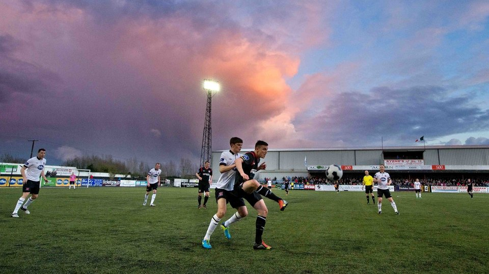 Dundalk's Sean Gannon takes on Enda Curran of Derry City at Oriel Park