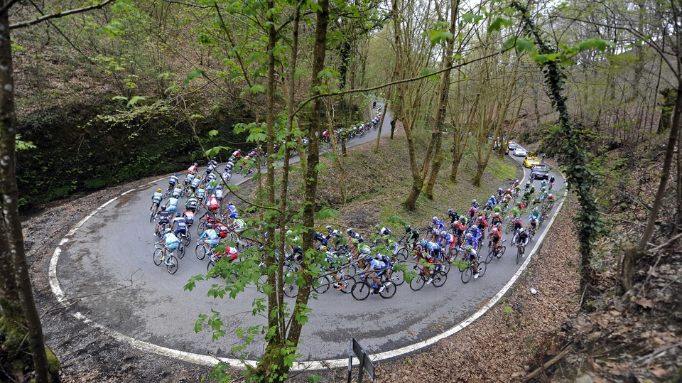 The peloton climb the Lizaieta hill in Etxalar during the second stage of the Tour of the Basque Country