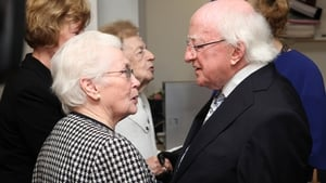 The President takes time to chat to many of the guests gathered for the event at UCLH