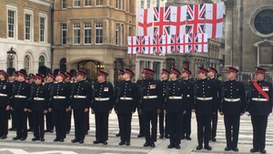 Guard of honour awaiting the arrival of President Higgins and his wife at the Guildhall