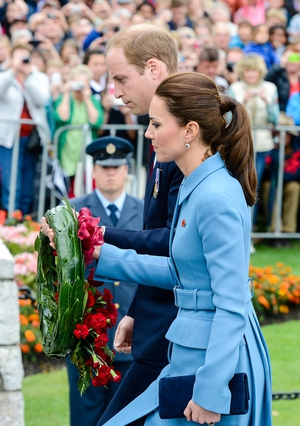 Britains Prince William and Catherine, Duchess of Cambridge lay a wreath at the War Memorial in Seymour Square, New Zealand.
