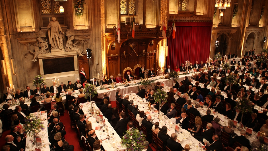 A general view of the guests at the Guildhall banquet