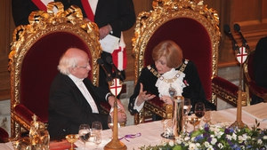 President Higgins chats with his host at the Guildhall