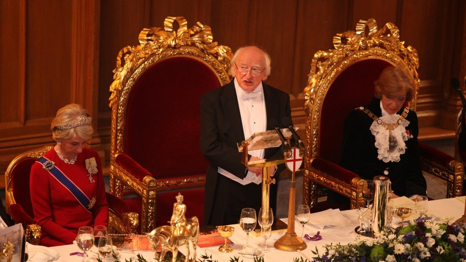 President Higgins addresses the crowd at the Guildhall