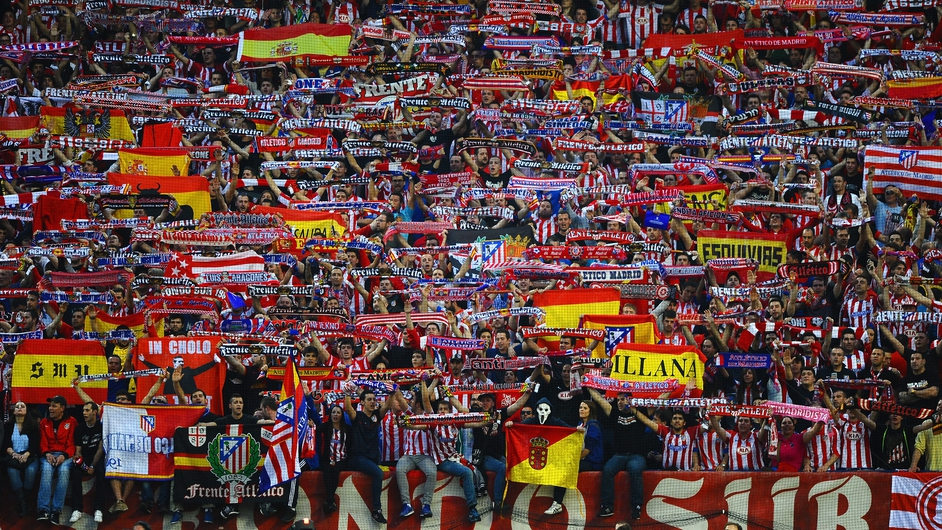 Atletico Madrid fans show their colours during their Champions League clash with Barcelona