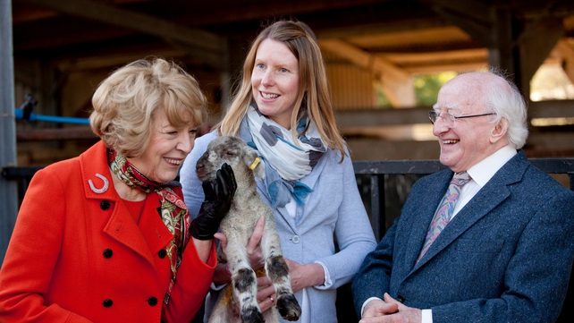 The President and Sabina Higgins meet a resident at the FAI research farm in Oxfordshire
